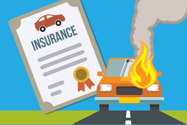 Car on fire sitting on road with car insurance policy in background flat concept image