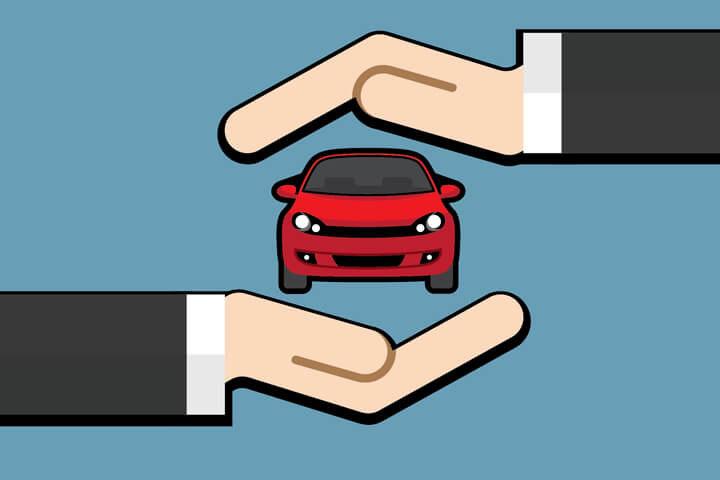 Hand holding car with hand protecting on top flat concept for insurance protection or insurance agent