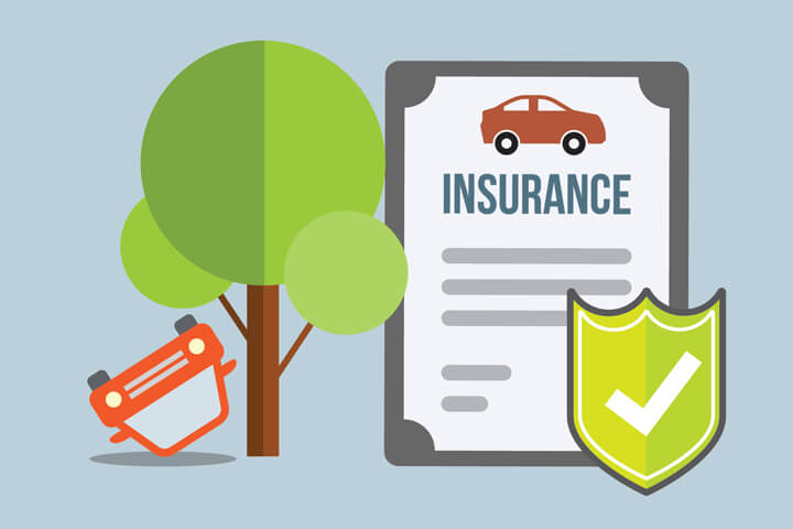 Car insurance policy and shield next to overturned car from rollover accident flat concept for collision rollover coverage
