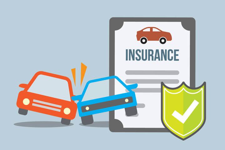 Car insurance policy with two cars colliding with protection shield in foreground flat concept