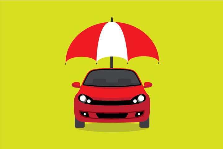 Red car with red and white umbrella concept for insurance protection on bright green background