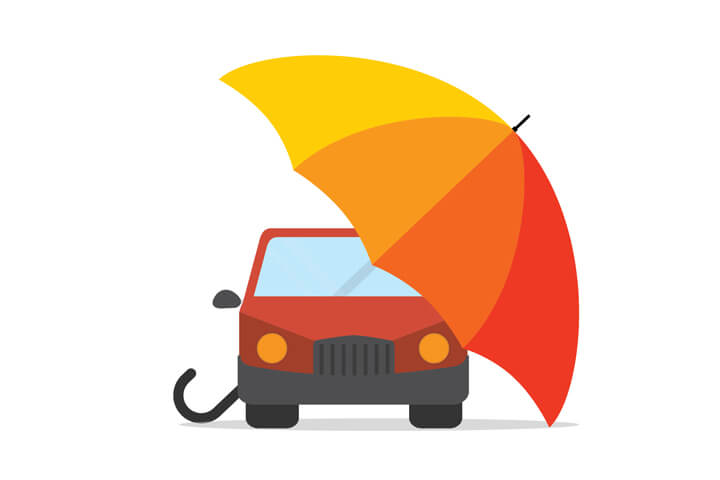 Red car under colorful umbrella flat concept for auto insurance protection on white background