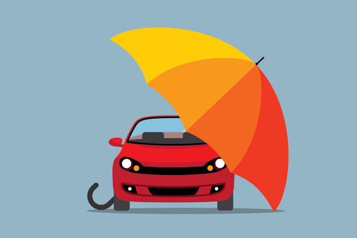 Red car under colorful umbrella flat concept for auto insurance protection