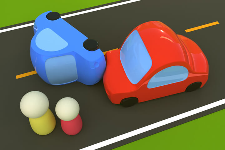 Cartoon-like 3D render of rollover accident