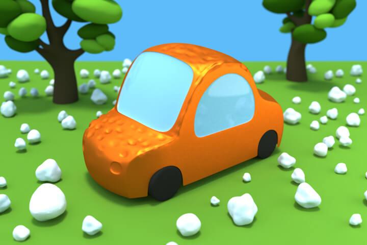 Cartoon car 3D render of dents following a hail storm