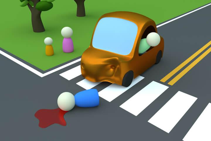 Cartoon 3D render of a car hitting a pedestrian liability insurance concept