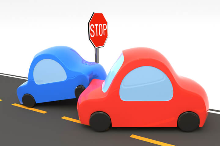 Cartoon 3D render of a vehicle collision at a stop sign