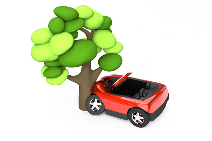 Cute red convertible crashed into tree on white background 3D render