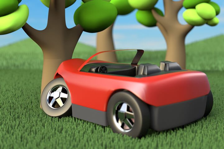 Cute red convertible crashed into tree with hills and trees in background