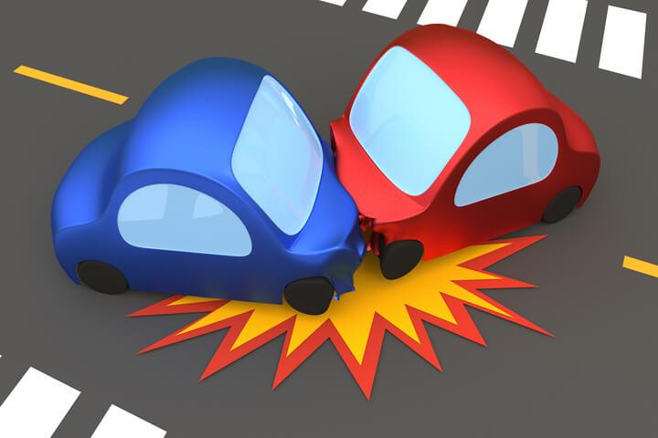 3D cartoon render of a two vehicle accident on a street