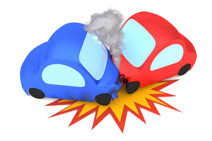 3D cartoon render of two vehicle collision isolated on white with collision burst and smoke