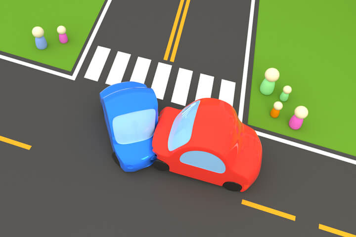 Cartoon 3D render of two vehicle accident at street intersection with onlookers