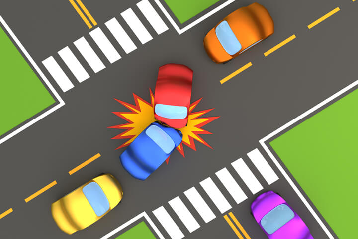 Cartoon 3D render of two car accident at intersection