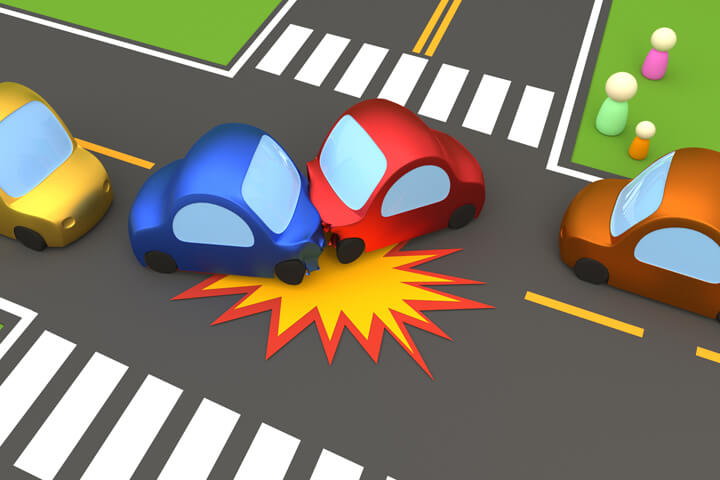 Cartoon 3D render of two car accident turning left at intersection