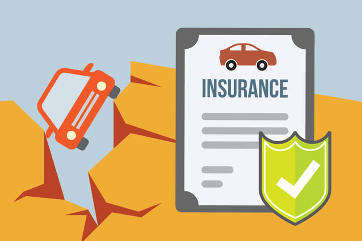 Car insurance policy with car falling into large fissure caused by earthquake flat concept