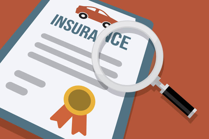 Illustration showing car insurance policy and magnifying glass