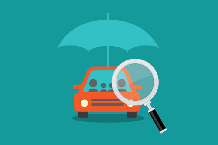 Family in car under umbrella with magnifying glass flat image concept for finding affordable car insurance or comparing prices online