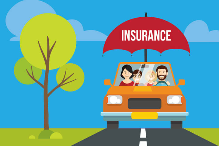 Happy family driving in car on road protected by car insurance umbrella flat concept
