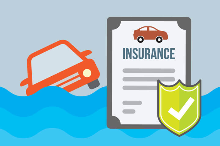 Illustration showing flooded car with car insurance policy