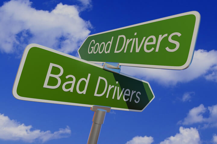 Street sign with arrows reading Good Drivers and Bad Drivers pointing in opposite directions