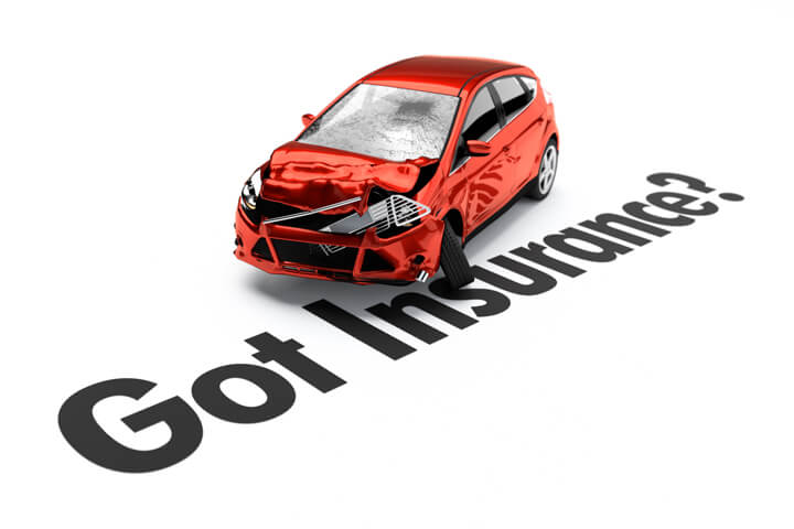 Red car with accident body damage behind Got Insurance text isolated on white background