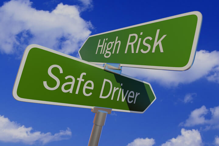 Street sign with arrows reading High Risk and Safe Driver pointing in opposite directions