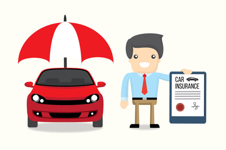 Smiling insurance agent holding car insurance policy next to red car under protection umbrella