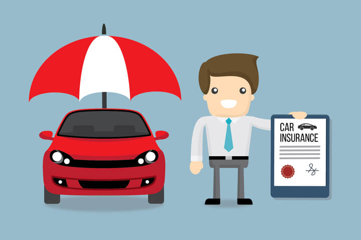 Smiling insurance agent holding car insurance policy next to red car under protection umbrella on light blue background