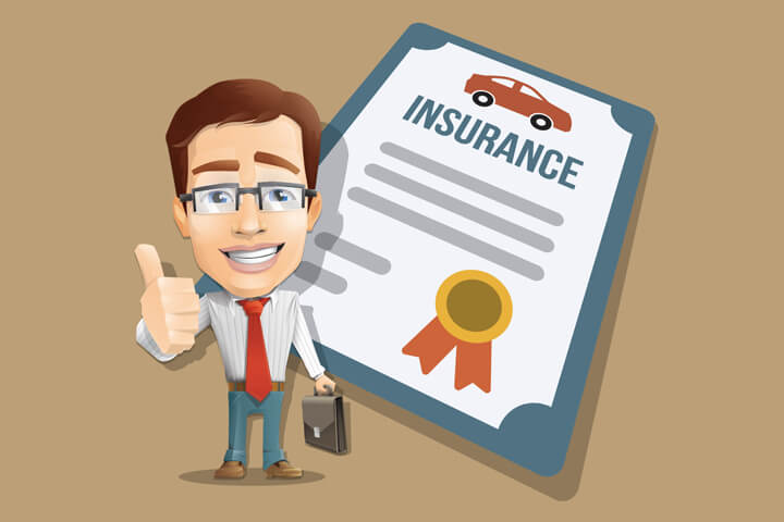 Insurance agent showing thumbs up in front of car insurance policy flat concept image