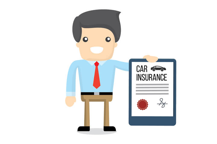 Smiling insurance agent holding a car insurance policy flat concept on white background
