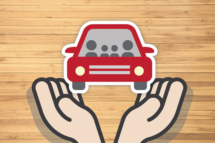 Healing hands holding car flat concept for car insurance protection with wood plank background