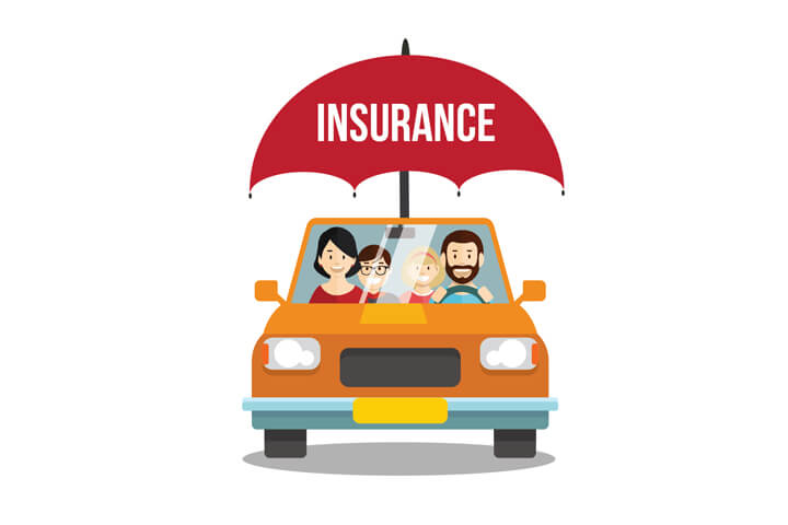 Family driving in car protected by car insurance umbrella flat concept on white background