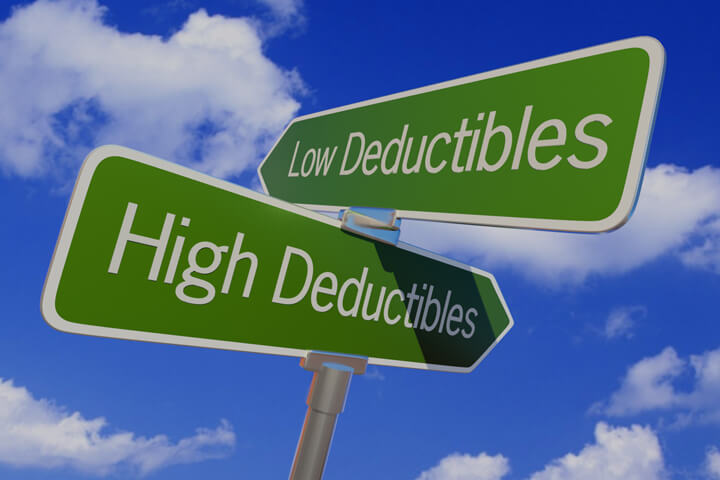 Street sign with arrows reading Low Deductibles and High Deductibles pointing in opposite directions