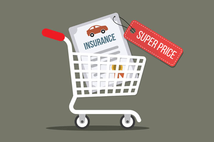 Shopping cart with car insurance policy tagged with super price concept for finding the best price on car insurance