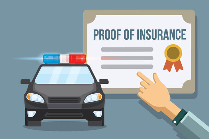 Proof of insurance certificate with police car flat concept for car insurance state financial responsibility laws