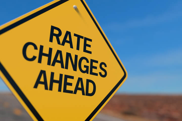 Yellow road sign reading Rate Changes Ahead concept for fluctuations in car insurance rates