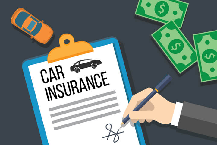 Car insurance policy on clipboard with hand signing signature and cash money and small toy car flat concept for car insurance payment or issuance
