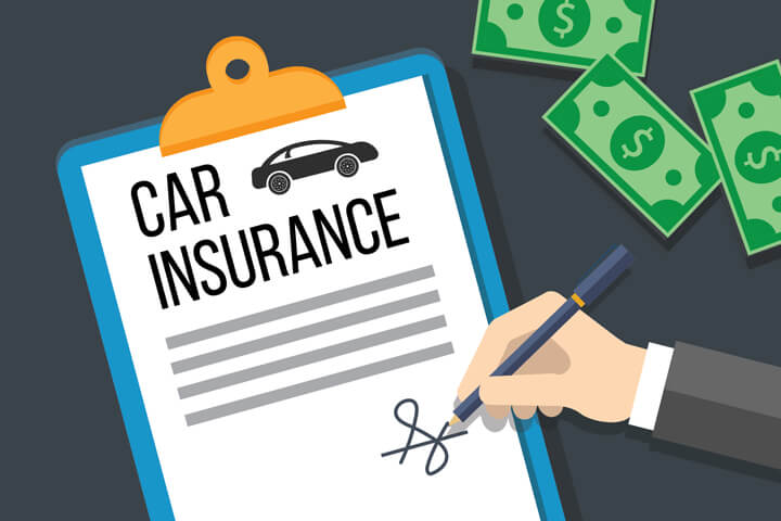 Car insurance policy on clipboard with hand signing signature and cash money flat concept for car insurance payment or issuance