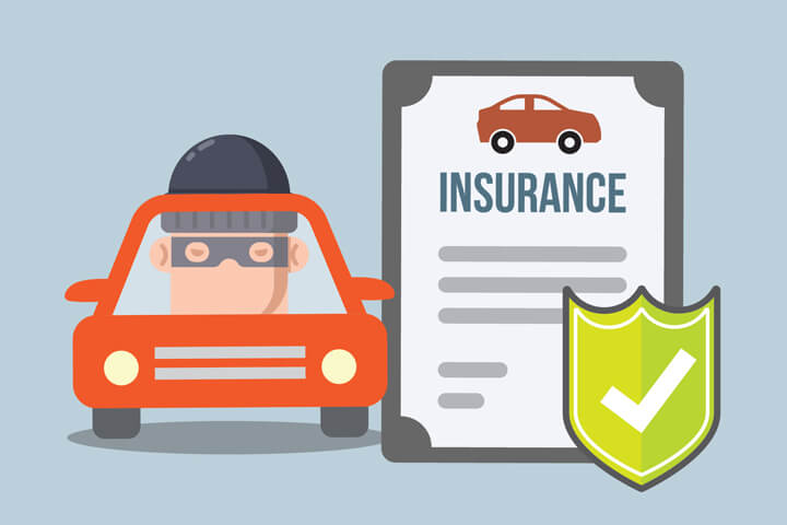 Car insurance policy with shield next to car with suspicious thief looking through window flat concept