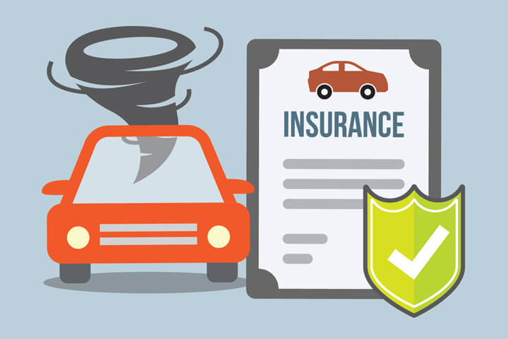 Car insurance policy and with shield beside car with tornado flat concept for tornado or wind damage