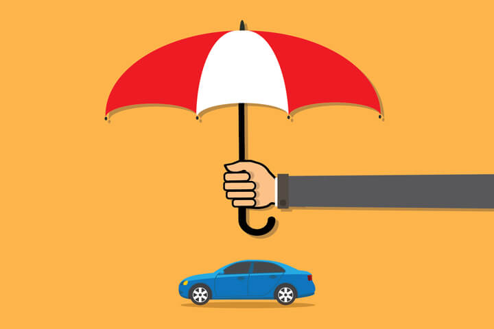 Long arm holding insurance protection umbrella over small blue sedan gold background