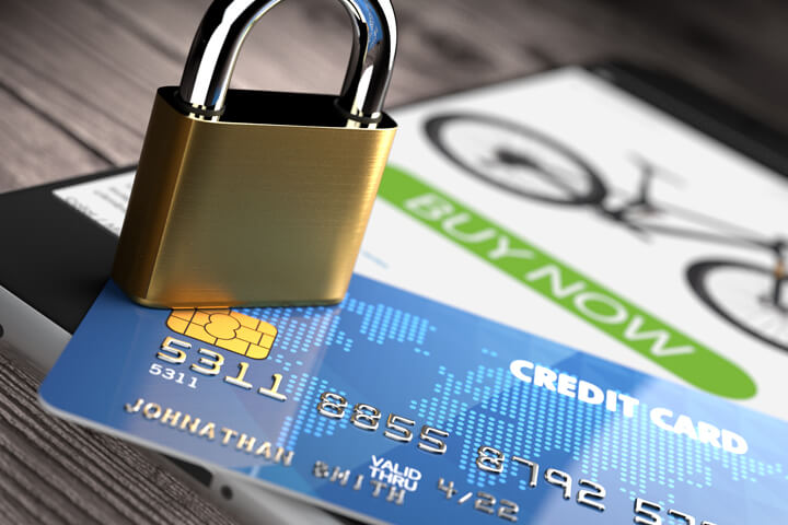 Mobile phone with credit card and padlock concept for secure mobile payments