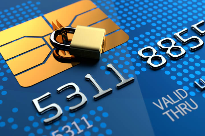 Close up of credit card EMV chip with padlock