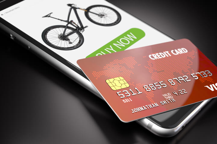 iPhone showing buy now button with credit card