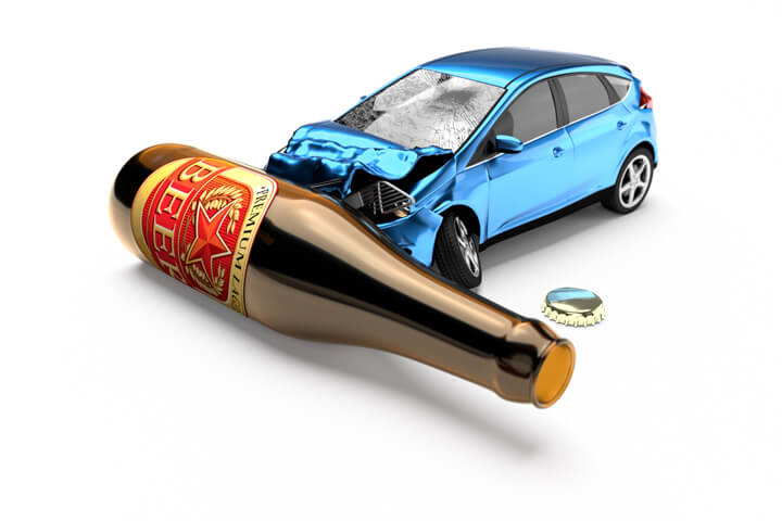 Blue car crashed into beer bottle laying on side concept for drunk driving or DUI