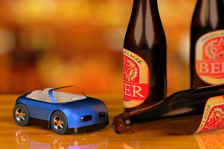 Small blue toy car with beer bottles on bar concept for DUI or drunk driving