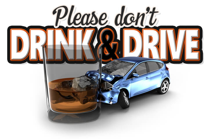 Graphic showing DUI accident with Please don't drink and drive text in background