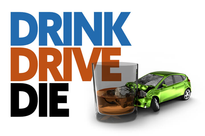 Illustration with drunk driving crash concept and Drink, Drive, Die text in background