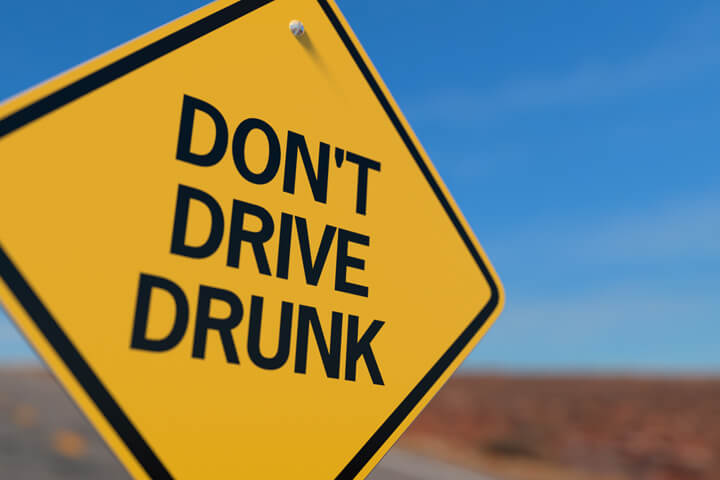 Yellow road sign reading Dont Drink and Drive