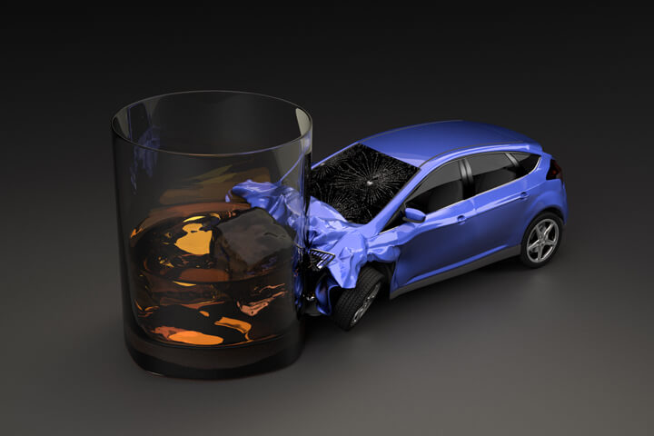 Compact car crashed into glass of whiskey after driving under the influence